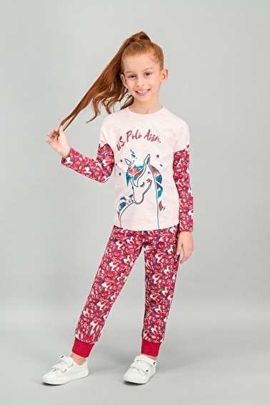 U.S. Polo Assn. Lisanslı Kız Çocuk Pijama Takımı Pembe